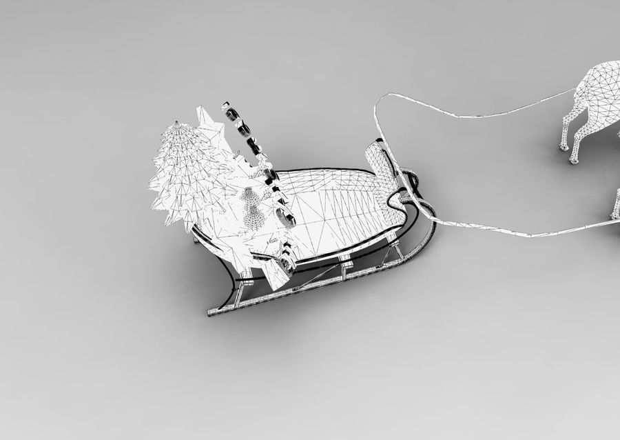 サンタ鹿のそり royalty-free 3d model - Preview no. 35
