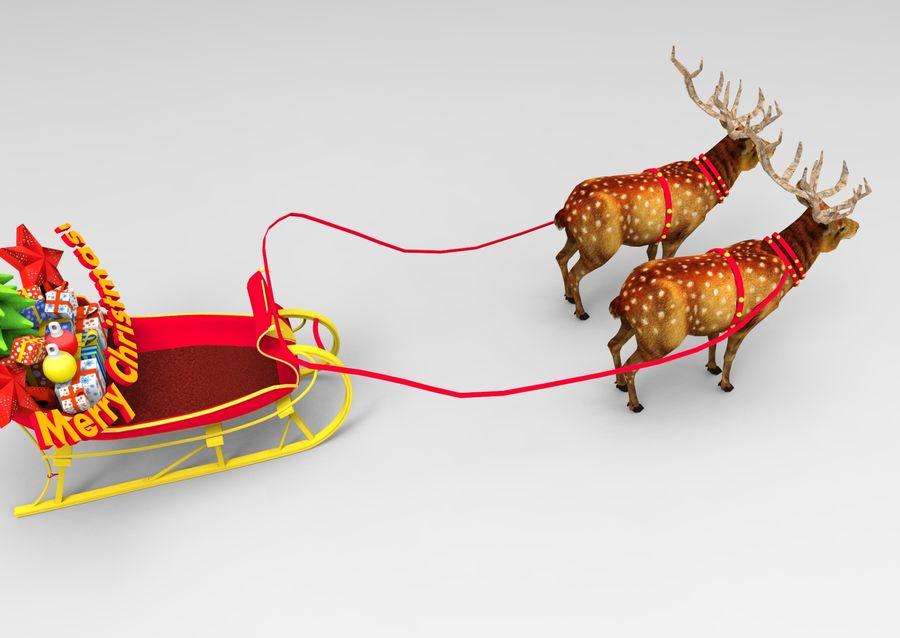 サンタ鹿のそり royalty-free 3d model - Preview no. 8
