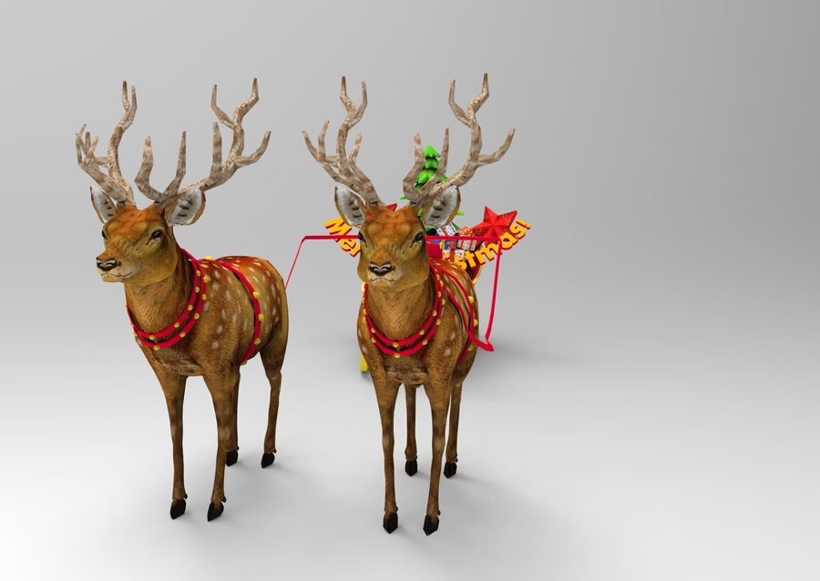 サンタ鹿のそり royalty-free 3d model - Preview no. 3