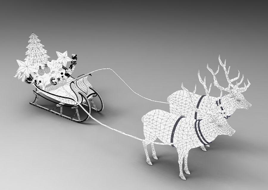 サンタ鹿のそり royalty-free 3d model - Preview no. 36