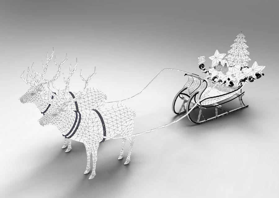 サンタ鹿のそり royalty-free 3d model - Preview no. 37