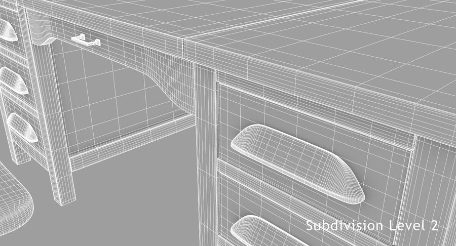 사무용 책상 royalty-free 3d model - Preview no. 14