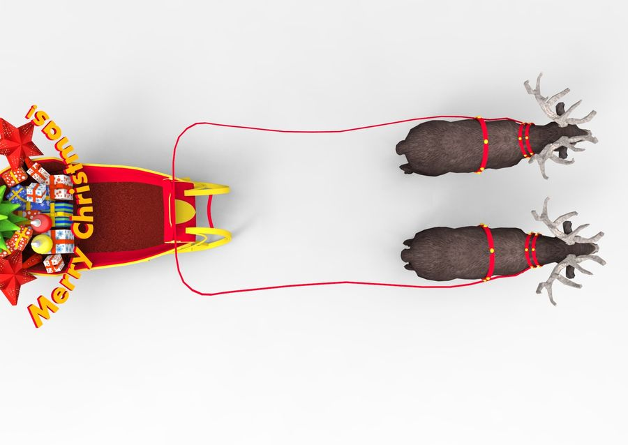 slitta di Babbo Natale royalty-free 3d model - Preview no. 7