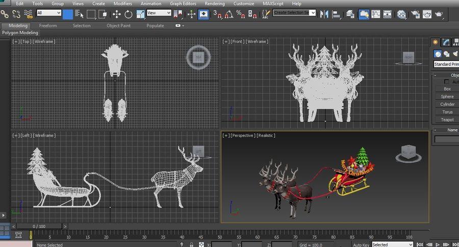 slitta di Babbo Natale royalty-free 3d model - Preview no. 20