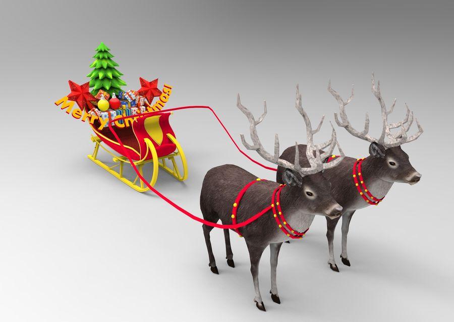 slitta di Babbo Natale royalty-free 3d model - Preview no. 6