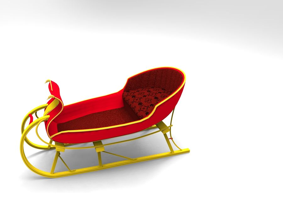 slitta di Babbo Natale royalty-free 3d model - Preview no. 13