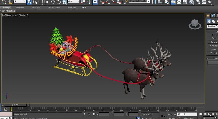 slitta di Babbo Natale royalty-free 3d model - Preview no. 21