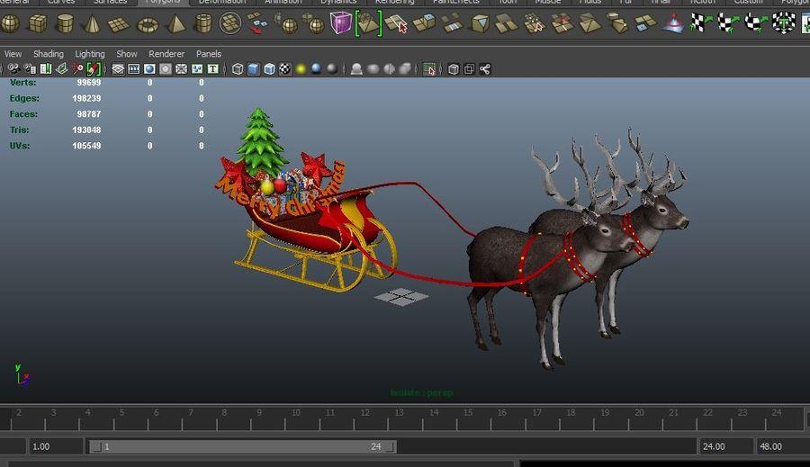 slitta di Babbo Natale royalty-free 3d model - Preview no. 18