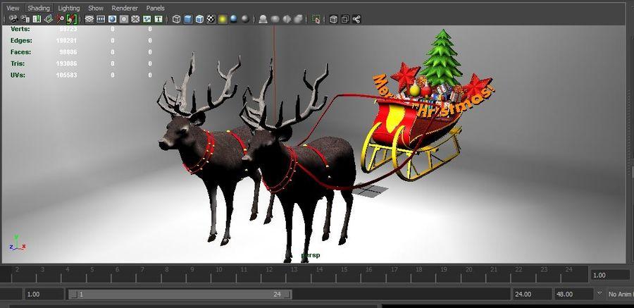 slitta di Babbo Natale royalty-free 3d model - Preview no. 19