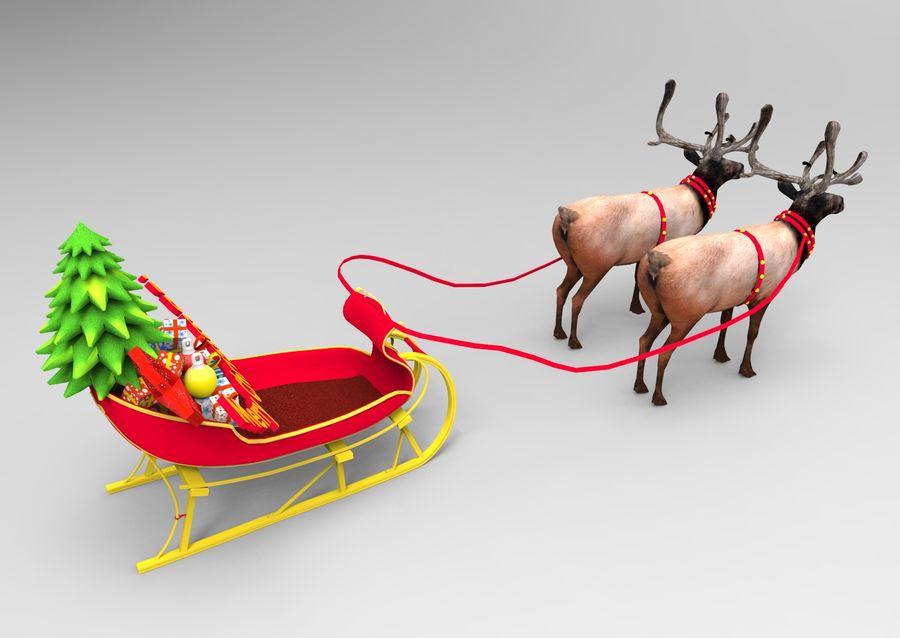 santa Sleigh royalty-free 3d model - Preview no. 2
