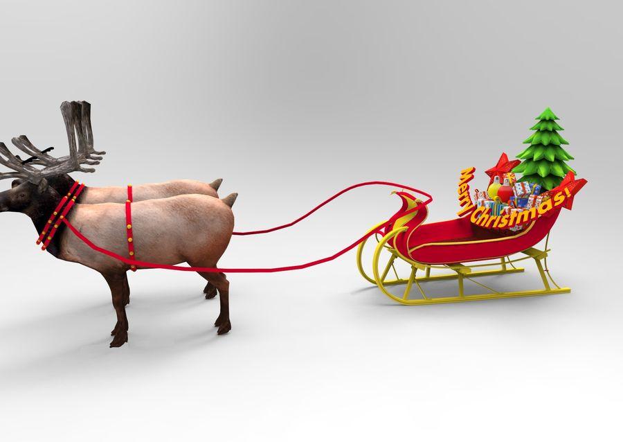 santa Sleigh royalty-free 3d model - Preview no. 5