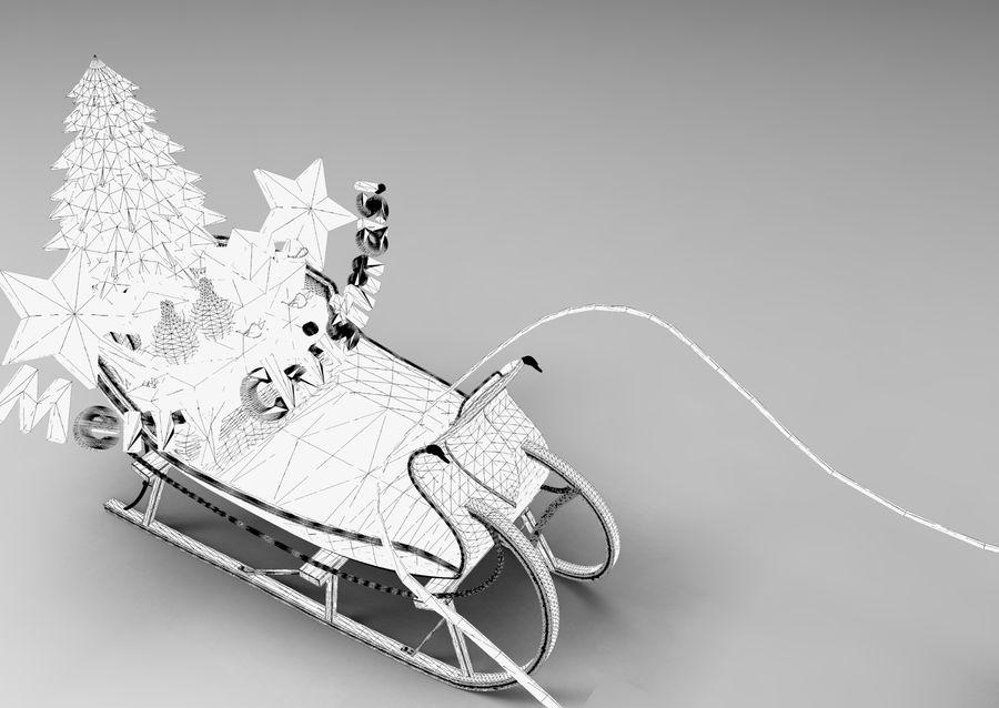 Santa sleigh royalty-free 3d model - Preview no. 19