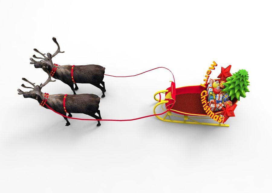 Santa sleigh royalty-free 3d model - Preview no. 3
