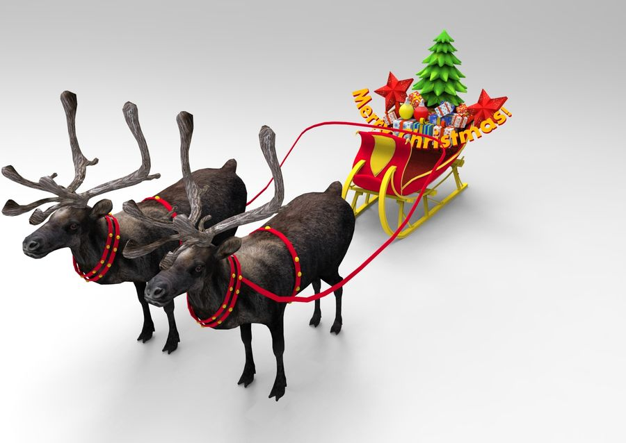 Santa sleigh royalty-free 3d model - Preview no. 10