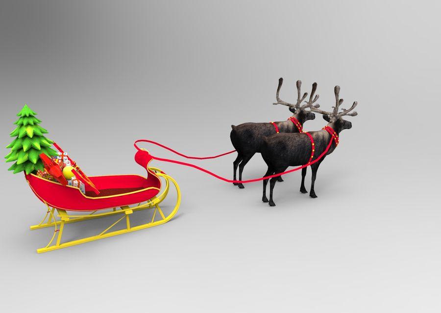 Santa sleigh royalty-free 3d model - Preview no. 7
