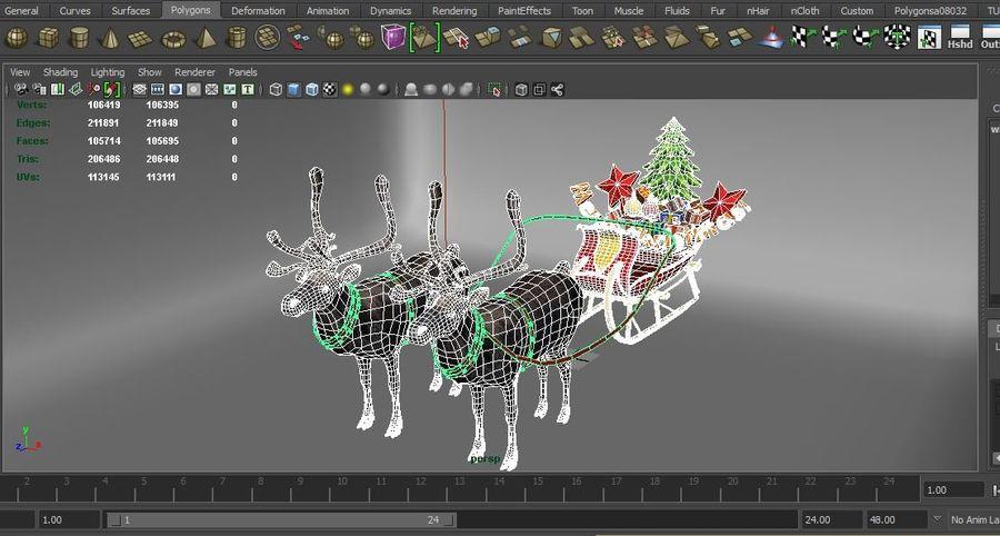 Santa sleigh royalty-free 3d model - Preview no. 22