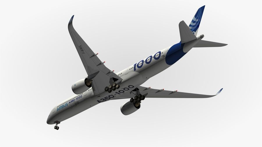 Airbus A350-1000 Xwb royalty-free 3d model - Preview no. 15