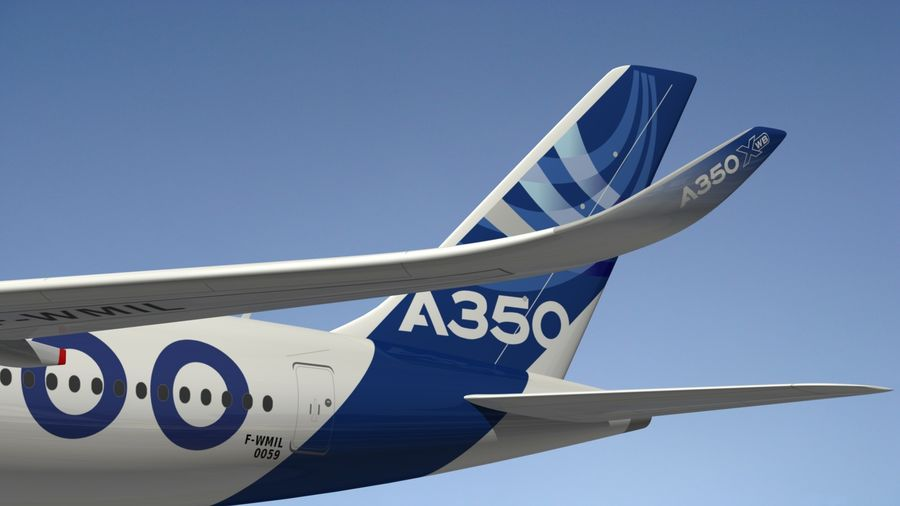 Airbus A350-1000 Xwb royalty-free 3d model - Preview no. 8