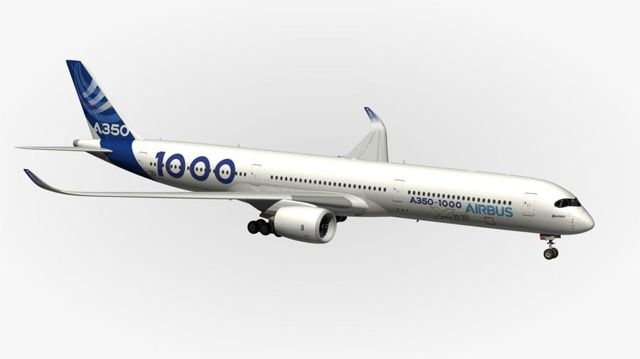 Airbus A350-1000 Xwb royalty-free 3d model - Preview no. 12
