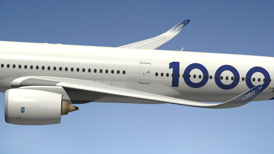 Airbus A350-1000 Xwb royalty-free 3d model - Preview no. 7