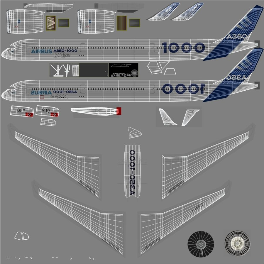 Airbus A350-1000 Xwb royalty-free 3d model - Preview no. 17