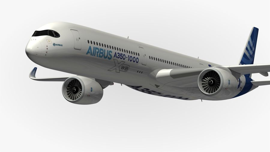 Airbus A350-1000 Xwb royalty-free 3d model - Preview no. 3