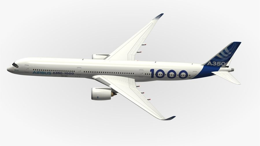 Airbus A350-1000 Xwb royalty-free 3d model - Preview no. 4