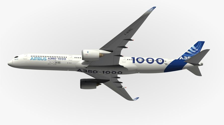 Airbus A350-1000 Xwb royalty-free 3d model - Preview no. 5