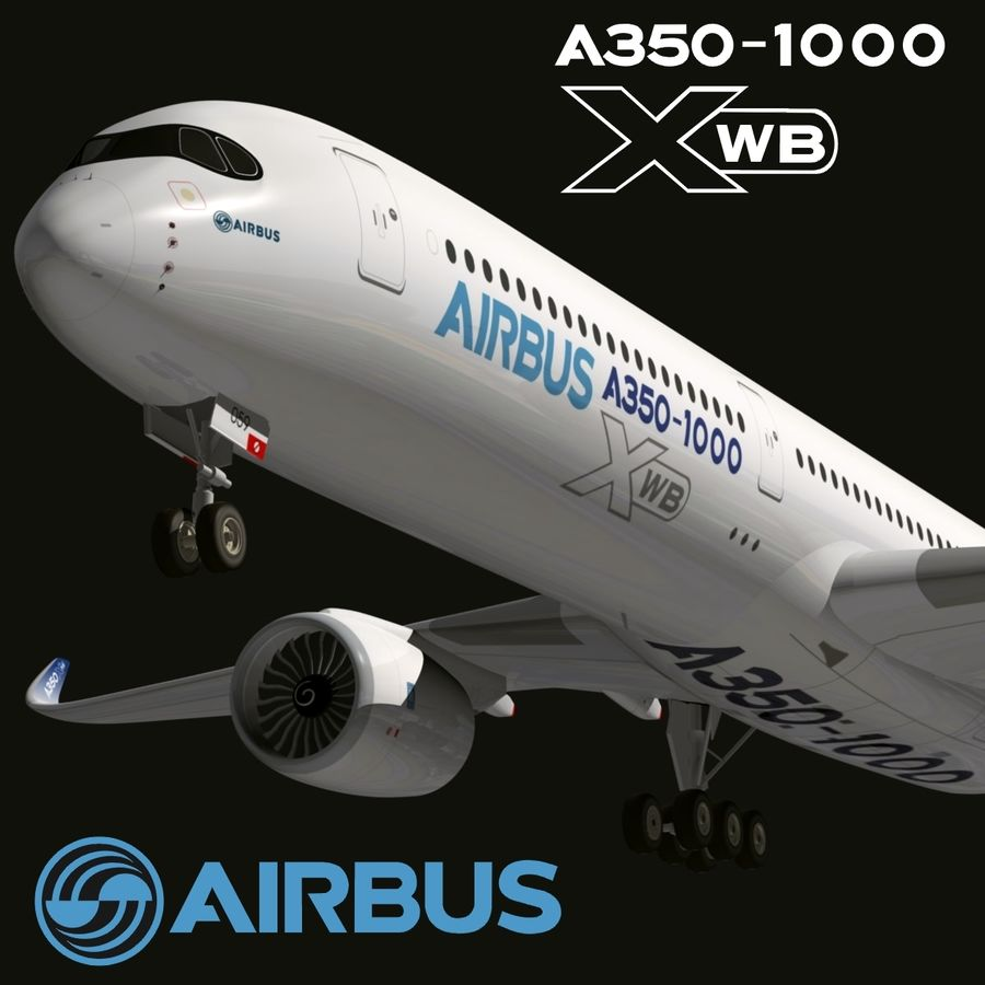 Airbus A350-1000 Xwb royalty-free 3d model - Preview no. 1