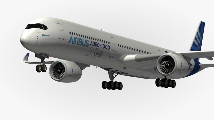 Airbus A350-1000 Xwb royalty-free 3d model - Preview no. 2