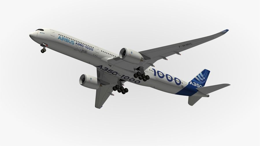 Airbus A350-1000 Xwb royalty-free 3d model - Preview no. 14