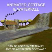 Geanimeerde Cartoon Cottage Scene 3d model