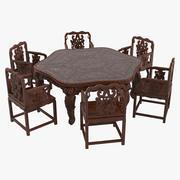 Oosterse eettafel en stoelen Set 3d model