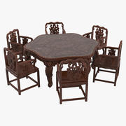 Oriental Dining Table & Chairs Set 3d model
