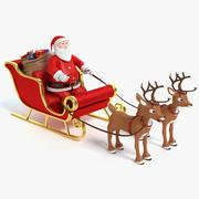 卡通圣诞老人雪橇和驯鹿 3d model
