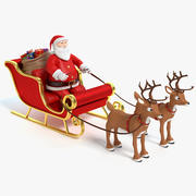 Cartoon Santa Sleigh and Reindeer 3d model