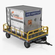 Bagagekarretje voor bagage op de luchthaven met container 3d model