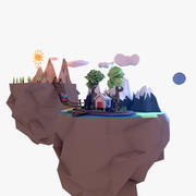 Low Poly Floating Islands 3d model
