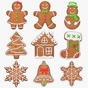 Gingerbread Cookie Set 3d model