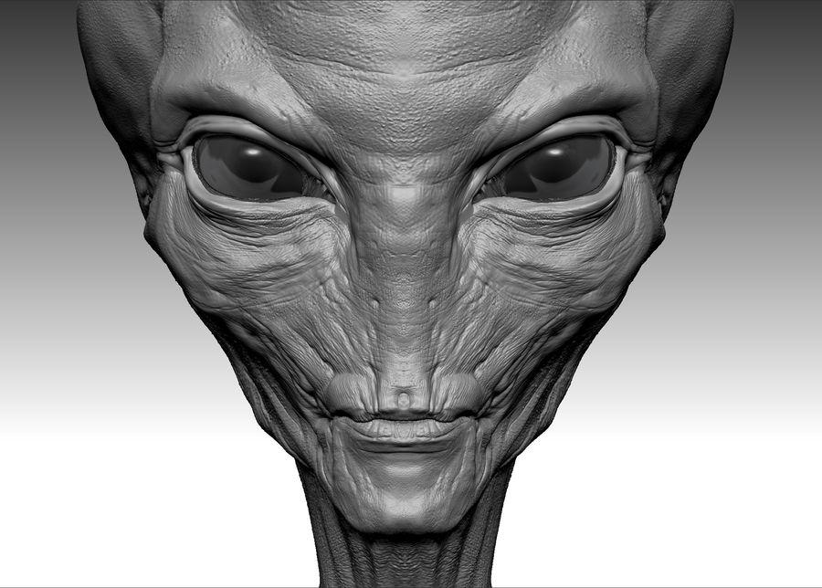UFO Alien Head royalty-free 3d model - Preview no. 4