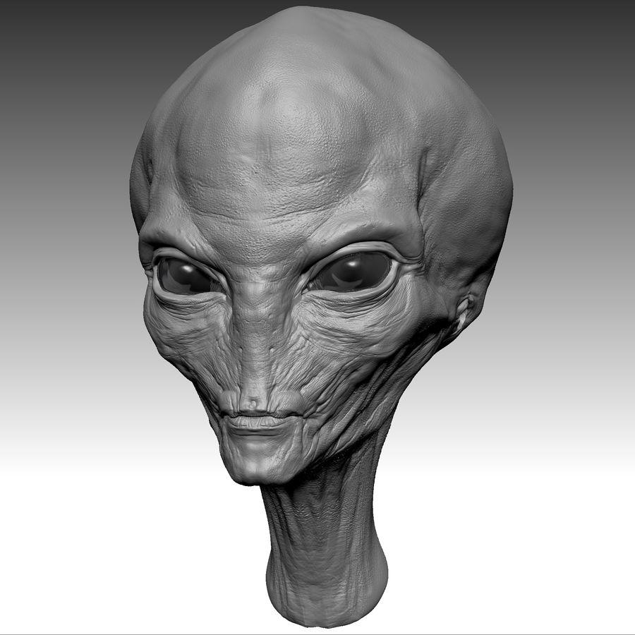 UFO Alien Head royalty-free 3d model - Preview no. 8