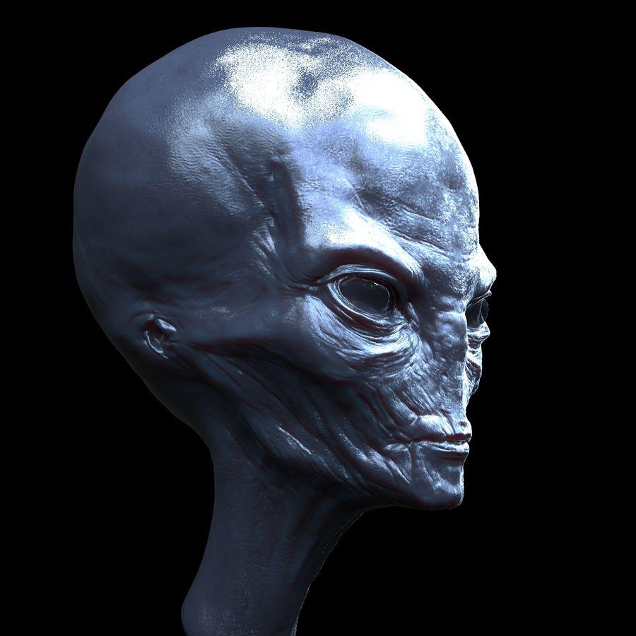 UFO Alien Head royalty-free 3d model - Preview no. 3