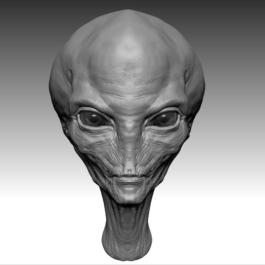 UFO Alien Head royalty-free 3d model - Preview no. 7