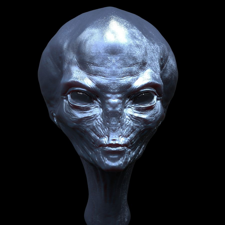UFO Alien Head royalty-free 3d model - Preview no. 2