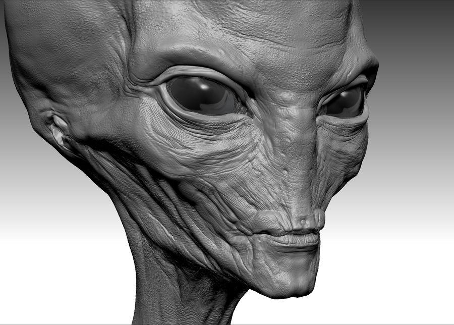 UFO Alien Head royalty-free 3d model - Preview no. 5