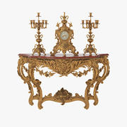 French 19h Century Console with Clock & Candelabras 3d model