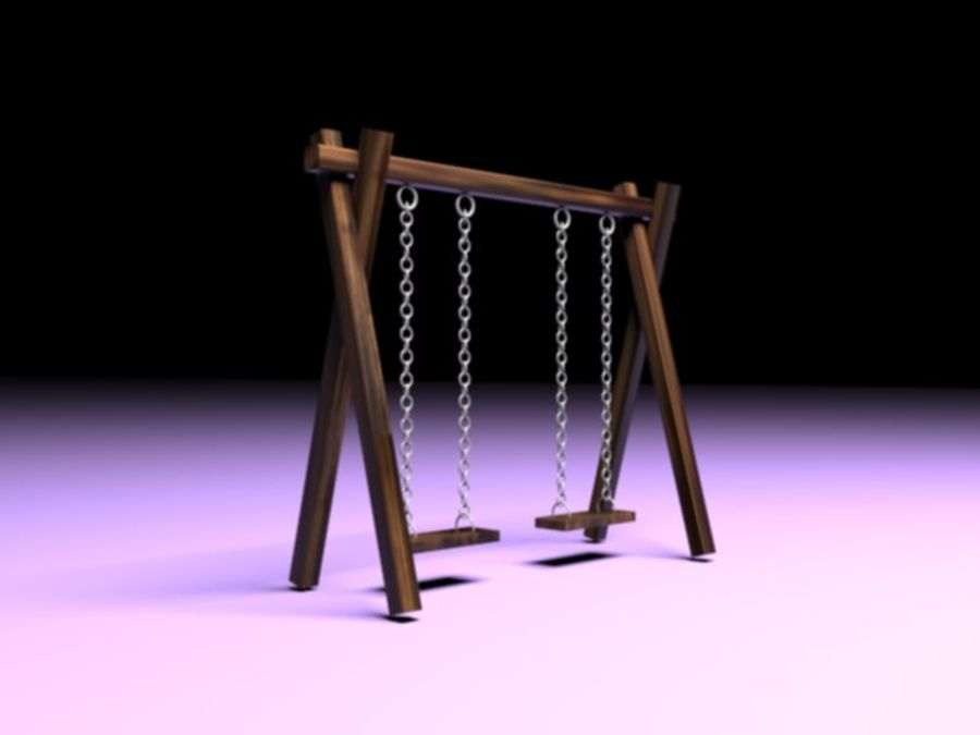 Barnen gungar royalty-free 3d model - Preview no. 2