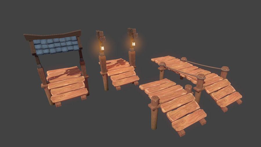 Toon Modular Bridge - Game Props royalty-free 3d model - Preview no. 4