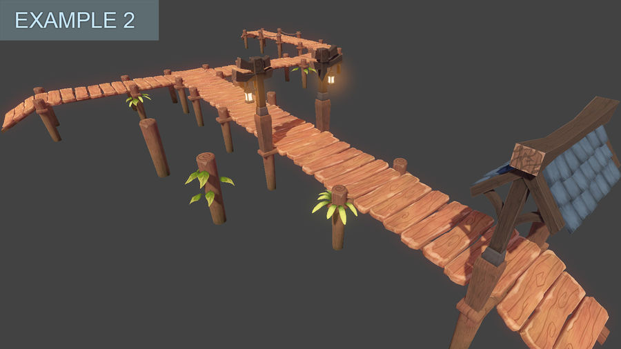 Toon Modular Bridge - Game Props royalty-free 3d model - Preview no. 9