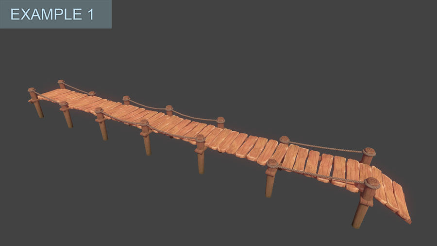 Toon Modular Bridge - Game Props royalty-free 3d model - Preview no. 8